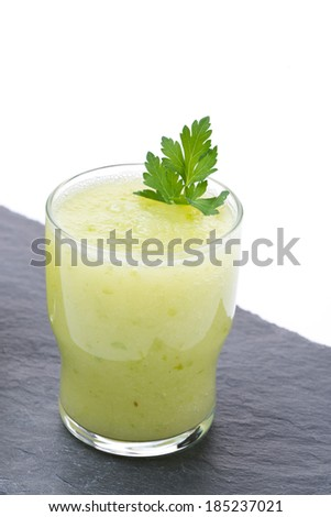 detox cocktail of fresh apple, celery and lime, vertical - stock photo