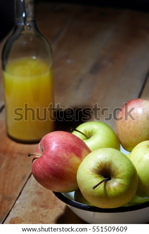 Detox food & drink healthy diet vegetarian lifestyle concept: Fresh fruit and fruit juices. Apples and orange juice. Apple pie cooking. Homemade baking. Cake recipe. Closeup Top view Wooden background