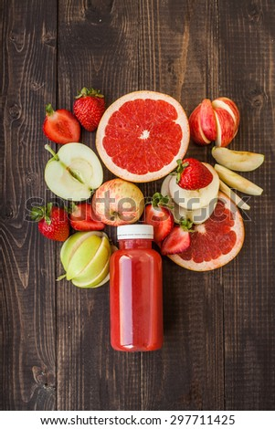 Detox juice with apple, srawberry and grapefruit - stock photo