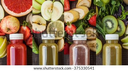 Detox juices. Collage - stock photo