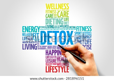 DETOX word cloud, health cross concept - stock photo