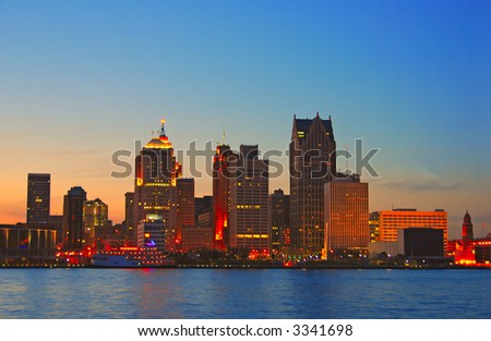 Detroit by sunset - stock photo