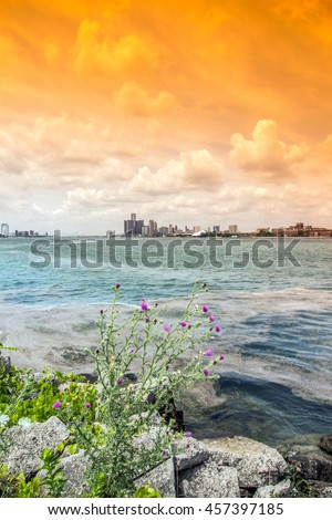 Detroit City Skyline - stock photo