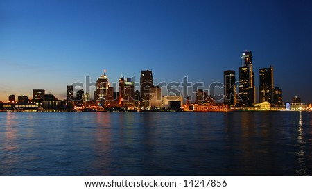 Detroit city waterfront and skyline in twilight - stock photo