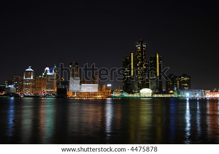Detroit cityscape at night - stock photo