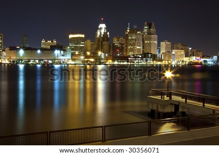 Detroit downtown viewed from Windsor, ON, Canada - stock photo