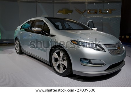 DETROIT – JAN 12 : Chevrolet Volt Concept at the North American International Auto Show on January 12, 2009 in Detroit, Michigan. The annual event is among the largest auto shows in North America. - stock photo