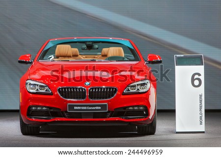DETROIT - JANUARY 13: A BMW 650i convertible on display January 13th, 2015 at the 2015 North American International Auto Show in Detroit, Michigan. - stock photo