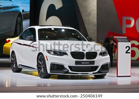 DETROIT - JANUARY 13: A BMW 235i on display January 13th, 2015 at the 2015 North American International Auto Show in Detroit, Michigan. - stock photo
