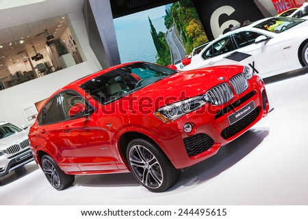 DETROIT - JANUARY 13: A BMW X4 on display January 13th, 2015 at the 2015 North American International Auto Show in Detroit, Michigan. - stock photo