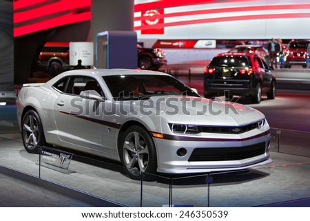 DETROIT - JANUARY 15: A Chevy Camaro Comemerative Edition on display January 15th, 2015 at the 2015 North American International Auto Show in Detroit, Michigan. - stock photo