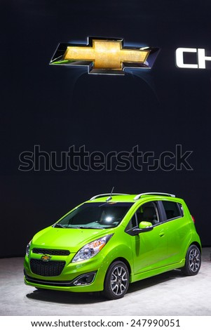 DETROIT - JANUARY 12: A Chevy Spark on display January 12th, 2015 at the 2015 North American International Auto Show in Detroit, Michigan. - stock photo
