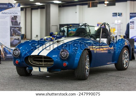 DETROIT - JANUARY 12: A 3D printed Car on display January 12th, 2015 at the 2015 North American International Auto Show in Detroit, Michigan. - stock photo