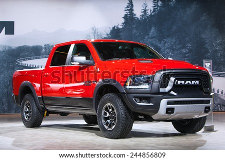 DETROIT - JANUARY 15: A Didge Ram 1500 pickup truck on display January 15th, 2015 at the 2015 North American International Auto Show in Detroit, Michigan. - stock photo