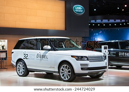 DETROIT - JANUARY 15: A Diesel Range Rover on display January 13th, 2015 at the 2015 North American International Auto Show in Detroit, Michigan. - stock photo