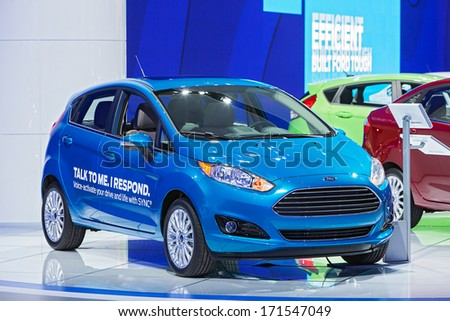DETROIT - JANUARY 14 : A Ford C-Max with SYNC technology on display at the North American International Auto Show media preview  January 14, 2014 in Detroit, Michigan. - stock photo