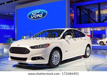 DETROIT - JANUARY 16 : A Ford Fusion on at the North American International Auto Show media preview  January 16, 2014 in Detroit, Michigan. - stock photo