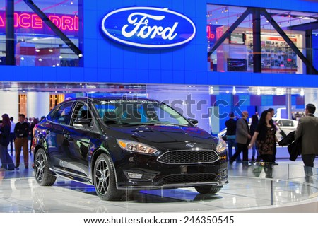 DETROIT - JANUARY 15: A Ford Fusion on display January 15th, 2015 at the 2015 North American International Auto Show in Detroit, Michigan. - stock photo