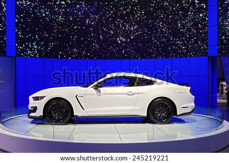 DETROIT - JANUARY 12: A Ford GT350 Mustang  on display January 12th, 2015 at the 2015 North American International Auto Show in Detroit, Michigan. - stock photo