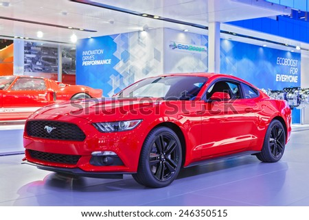 DETROIT - JANUARY 13: A Ford Mustang on display January 13th, 2015 at the 2015 North American International Auto Show in Detroit, Michigan. - stock photo