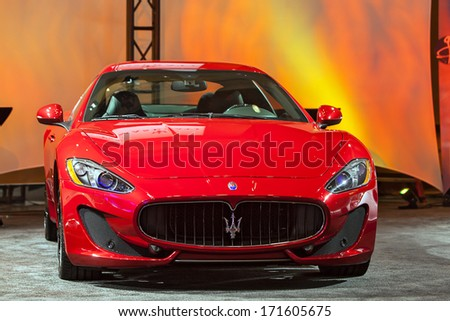 DETROIT - JANUARY 12 : A Maserati on display at The Gallery media preview in the MGM Grand Casino January 12, 2014 in Detroit, Michigan. - stock photo