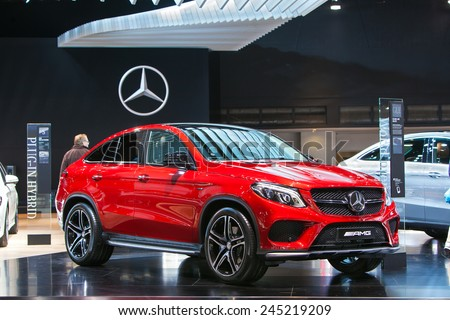 DETROIT - JANUARY 13: A Mercedes GLE450 AMG 4matic on display January 13th, 2015 at the 2015 North American International Auto Show in Detroit, Michigan. - stock photo