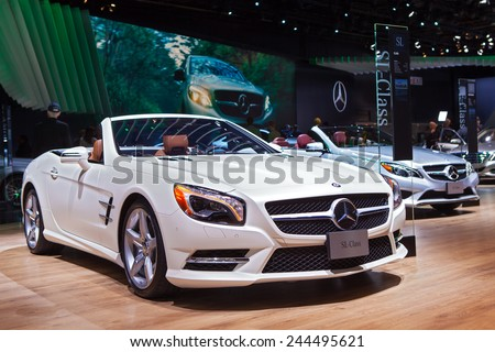DETROIT - JANUARY 13: A Mercedes SL600 on display January 13th, 2015 at the 2015 North American International Auto Show in Detroit, Michigan. - stock photo