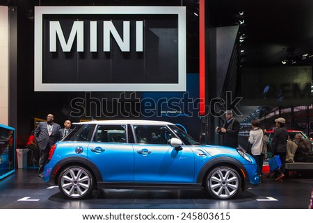 DETROIT - JANUARY 13: A Mini Cooper on display January 13th, 2015 at the 2015 North American International Auto Show in Detroit, Michigan. - stock photo