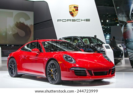 DETROIT - JANUARY 15: A Porsche 911 GTS on display January 13th, 2015 at the 2015 North American International Auto Show in Detroit, Michigan. - stock photo
