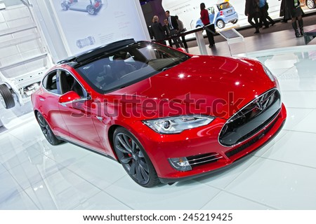 DETROIT - JANUARY 12: A Tesla Model S on display January 12th, 2015 at the 2015 North American International Auto Show in Detroit, Michigan. - stock photo