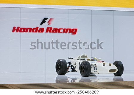 DETROIT - JANUARY 13: A vintage Honda F1 race car on display January 13th, 2015 at the 2015 North American International Auto Show in Detroit, Michigan. - stock photo