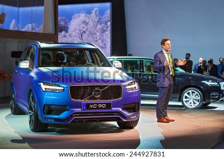 DETROIT - JANUARY 12: A Volvo executive speaks during the debut of the XC90 January 12th, 2015 at the 2015 North American International Auto Show in Detroit, Michigan. - stock photo