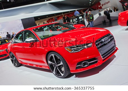 DETROIT - JANUARY 12: An Audi S6 sedan on display at the North American International Auto Show media preview January 12, 2016 in Detroit, Michigan.