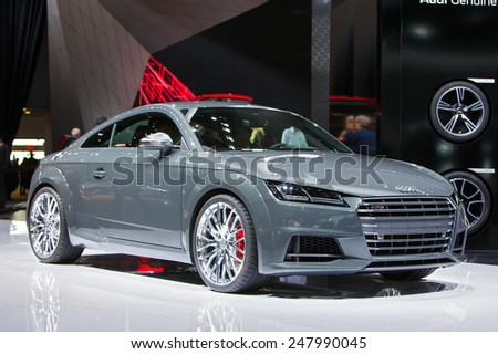 DETROIT - JANUARY 12: An Audi TTS on display January 12th, 2015 at the 2015 North American International Auto Show in Detroit, Michigan. - stock photo