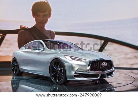 DETROIT - JANUARY 12: An Infinti Q60 on display January 12th, 2015 at the 2015 North American International Auto Show in Detroit, Michigan. - stock photo