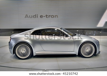 DETROIT - JANUARY 22: Audi E-Tron electric concept car on display at the North American International Auto Show on January 22, 2010 in Detroit, Michigan. - stock photo
