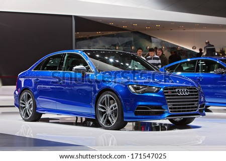 DETROIT - JANUARY 14 : Audi S3 on display at the North American International Auto Show media preview  January 14, 2014 in Detroit, Michigan. - stock photo