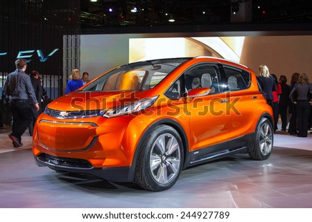 DETROIT - JANUARY 12: Chevrolet debuts the new Chevy Bolt EV electric vehicle January 12th, 2015 at the 2015 North American International Auto Show in Detroit, Michigan. - stock photo