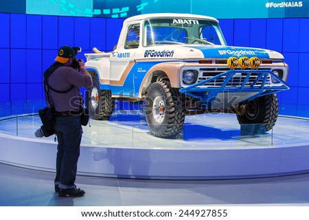 DETROIT - JANUARY 12: Ford off-road racing truck  January 12th, 2015 at the 2015 North American International Auto Show in Detroit, Michigan. - stock photo