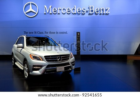 DETROIT - JANUARY 11: Mercedes ML550 4Matic at the 2012 North American International Auto Show Industry Preview on January 11, 2012 in Detroit, Michigan. - stock photo