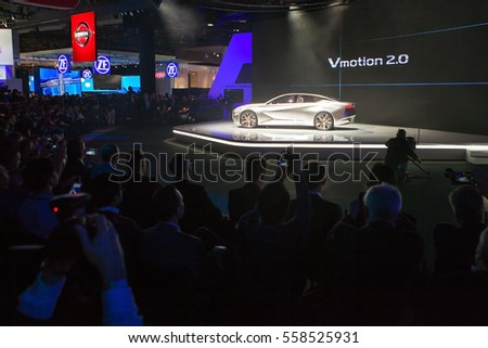 DETROIT - JANUARY 9: Nissan unveils the Vmotion 2.0 concept for members of the media at the North American International Auto Show media preview January 9, 2017 in Detroit, Michigan.