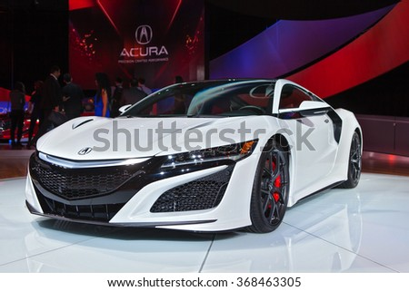 DETROIT - JANUARY 12: The 2017 Acura NSX on display at the North American International Auto Show media preview January 12, 2016 in Detroit, Michigan. - stock photo