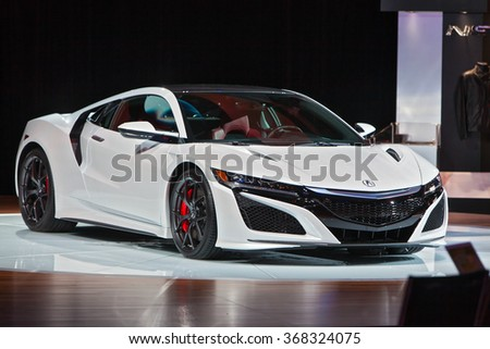 DETROIT - JANUARY 12: The Acura NSX on display at the North American International Auto Show media preview January 12, 2016 in Detroit, Michigan. - stock photo