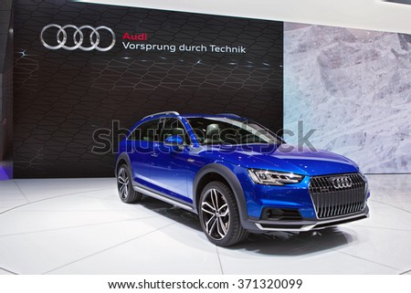DETROIT - JANUARY 12: The 2016 Audi Q7 on display at the North American International Auto Show media preview January 12, 2016 in Detroit, Michigan. - stock photo