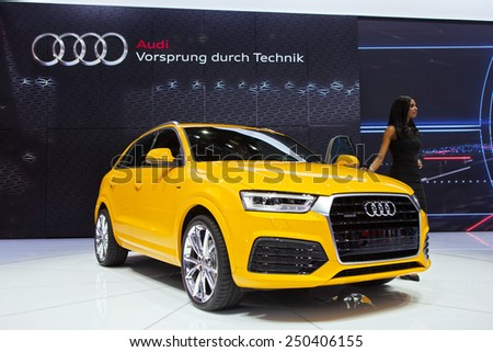 DETROIT - JANUARY 12: The Audi Q3 on display January 12th, 2015 at the 2015 North American International Auto Show in Detroit, Michigan. - stock photo