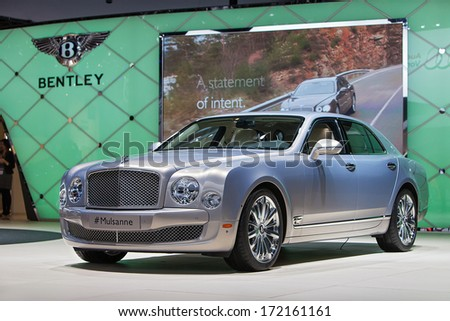 DETROIT - JANUARY 13 : The Bentley Mulsanne on display at the North American International Auto Show media preview  January 13, 2014 in Detroit, Michigan. - stock photo