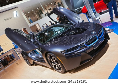 DETROIT - JANUARY 12: The BMW i8 electric car January 12th, 2015 at the 2015 North American International Auto Show in Detroit, Michigan. - stock photo