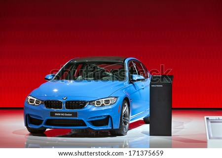 DETROIT - JANUARY 14 : The BMW M3 Two Door Sedan on display at the North American International Auto Show media preview  January 14, 2014 in Detroit, Michigan. - stock photo