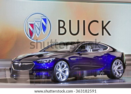 DETROIT - JANUARY 13: The Buick Avista Concept on display at the North American International Auto Show media preview January 13, 2016 in Detroit, Michigan. - stock photo