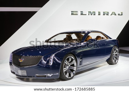 DETROIT - JANUARY 16 : The Cadillac Elmiraj concept  display at the North American International Auto Show media preview  January 16, 2014 in Detroit, Michigan. - stock photo